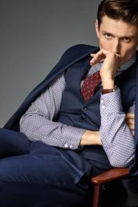 <b>CG-Club of Gents</b>, 3 részes slim fit, gyapjú öltöny